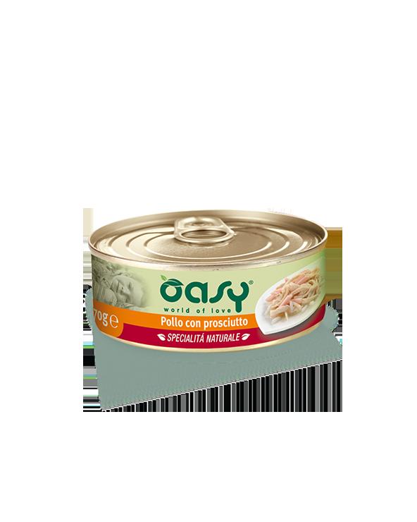 Oasy Cat Specialità Naturali Pollo con Prosciutto Lattina 70g