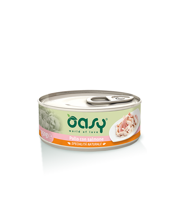Oasy Cat Specialità Naturali Pollo con Salmone Lattina 70 g