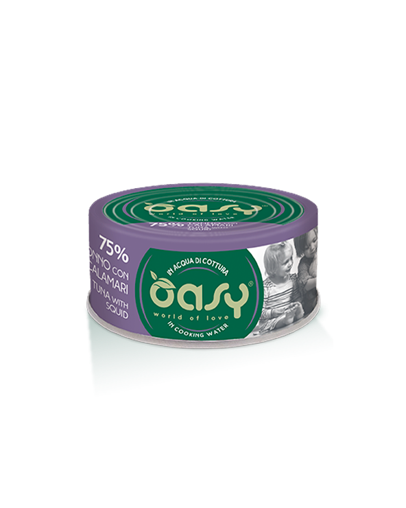 Oasy Cat More Love Tonno con Calamari Lattina 70g