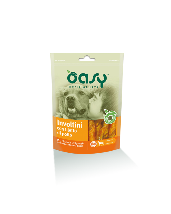 Oasy Dog Snack Involtini Di Filetto Di Pollo e Pelle Bovina 100 g