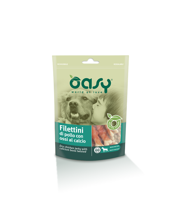 Oasy Dog Snack Filettini Di Pollo Con Ossi Al Calcio