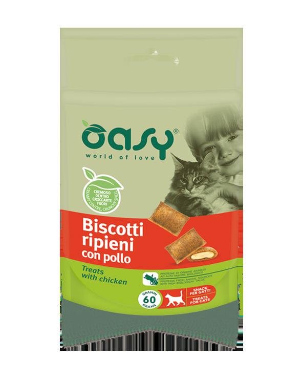 Oasy Cat Snack Biscotti Ripieni Adult con Pollo