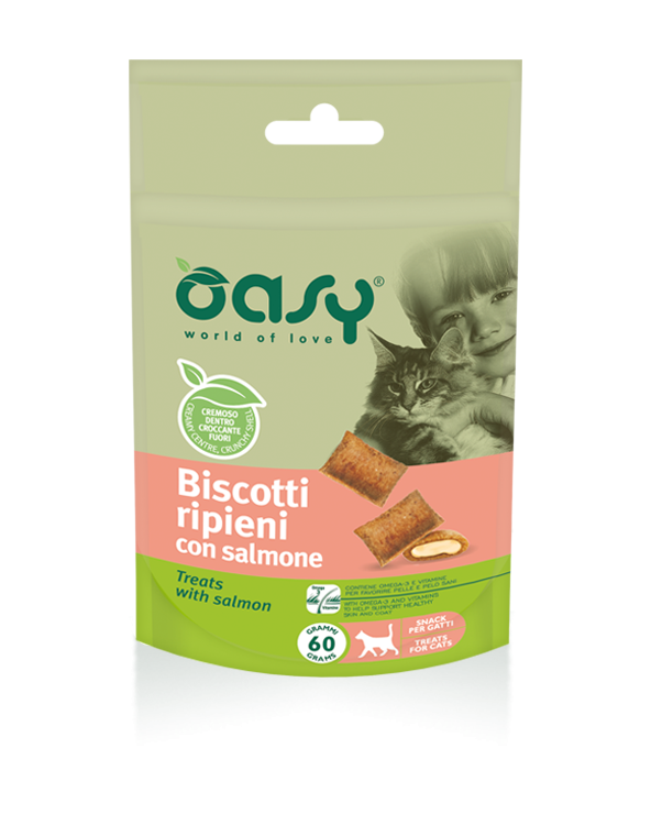Oasy Cat Snack Biscotti Ripieni Adult con Salmone