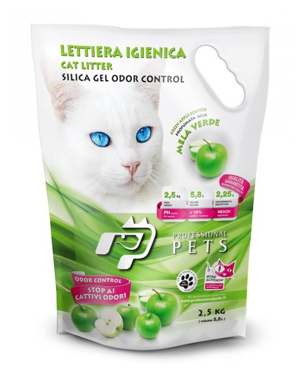Professional Pets Lettiera Gel di Silicio - Mela Verde 5.8L