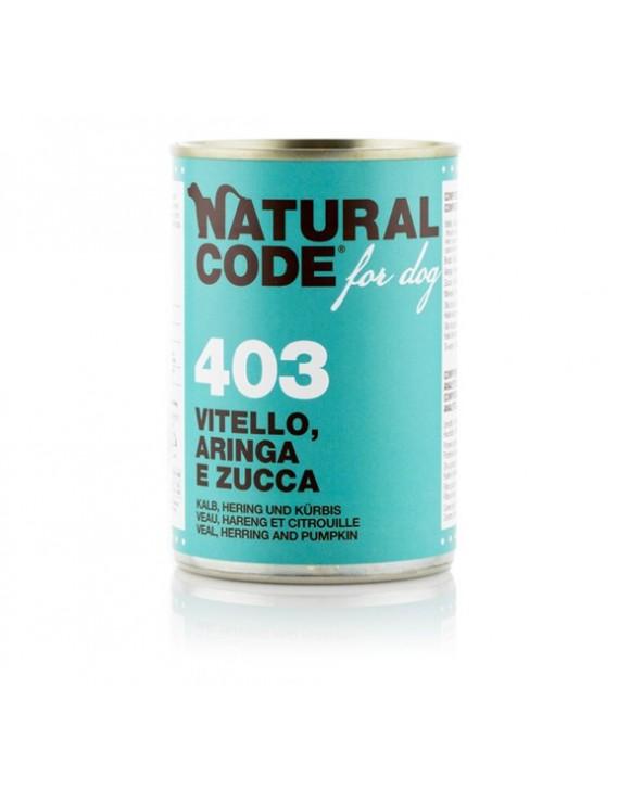 Natural Code Dog Patè 403 Vitello Aringa e Zucca 400g