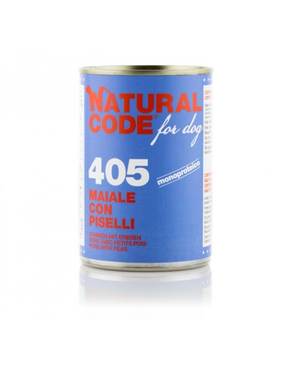 Natural Code Dog Patè 405 Maiale Con Piselli 400g