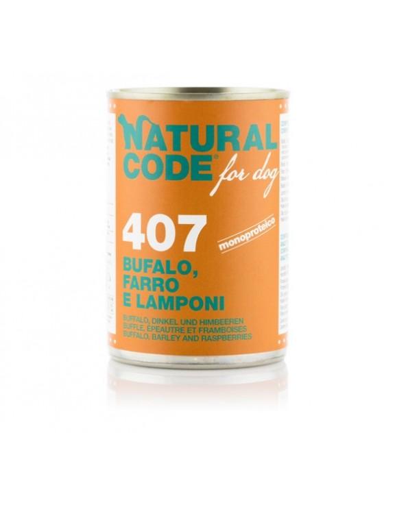 Natural Code Dog Patè 407 Bufalo Farro e Lamponi 400g