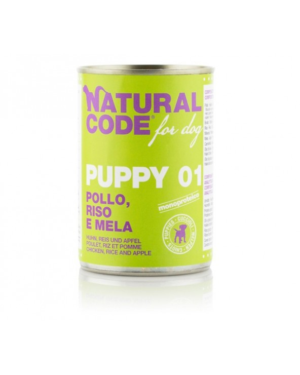 Natural Code Dog Patè Puppy 01 Pollo Riso e Mela 400 g