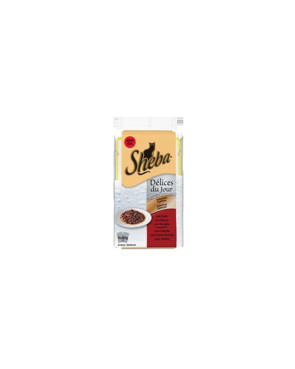Sheba Delices Du Jour In Salsa Pollo Manzo e Anatra 6x50 g