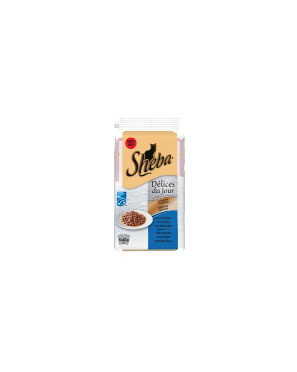 Sheba Délices Du Jour In Salsa Salmone Tonno e Merluzzo
