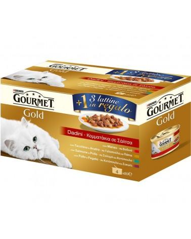 Gourmet Gold Multipack 3+1 Dadini Manzo Salmone e pollo Anatra e Tacchino Fegato e Pollo