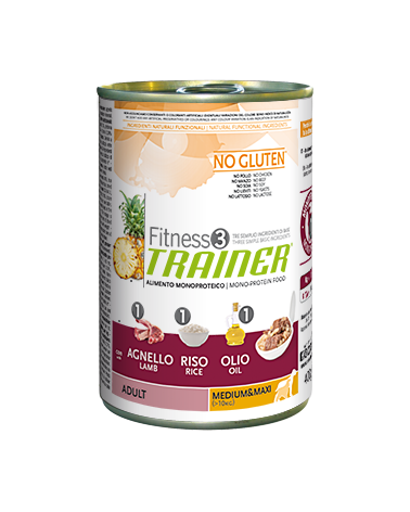 Fitness 3 Trainer Adult Agnello Riso e Olio Lattina in Patè 400 g