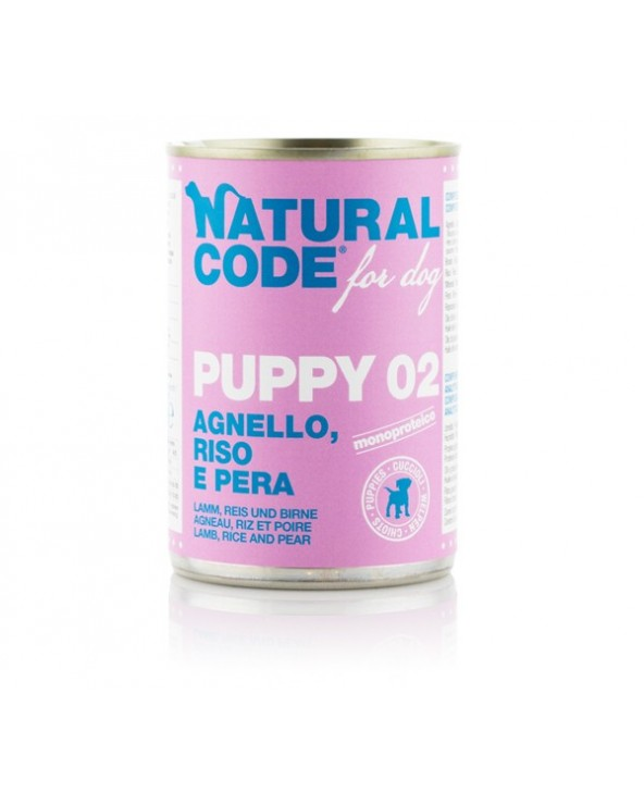 Natural Code Dog Patè Puppy 02 Agnello Riso e Pera 400g