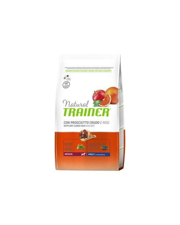 Natural Trainer Adult Medium con Prosciutto Crudo e Riso 3 kg
