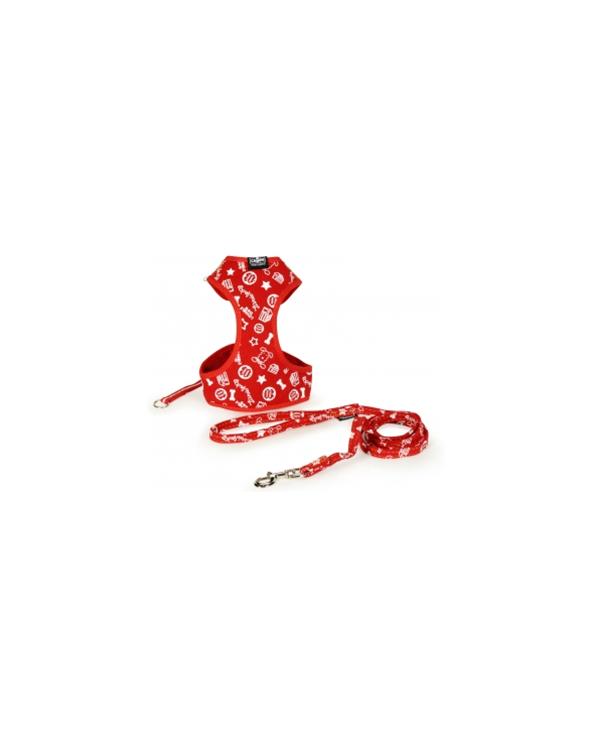 Camon Parure Pettorina e Guinzaglio In Denim Rosso