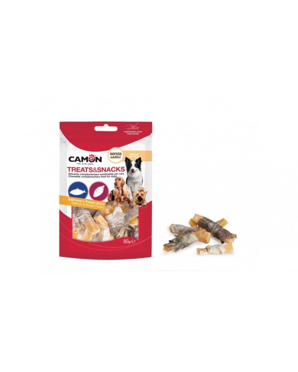 Camon Treats & Snack Bastoncini Con Pelle Di Salmone e Patate Dolci
