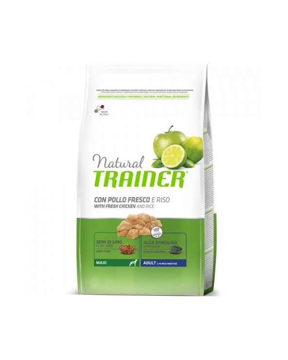 Natural Trainer Adult Maxi con Pollo Fresco Riso e Aloe Vera 12 kg