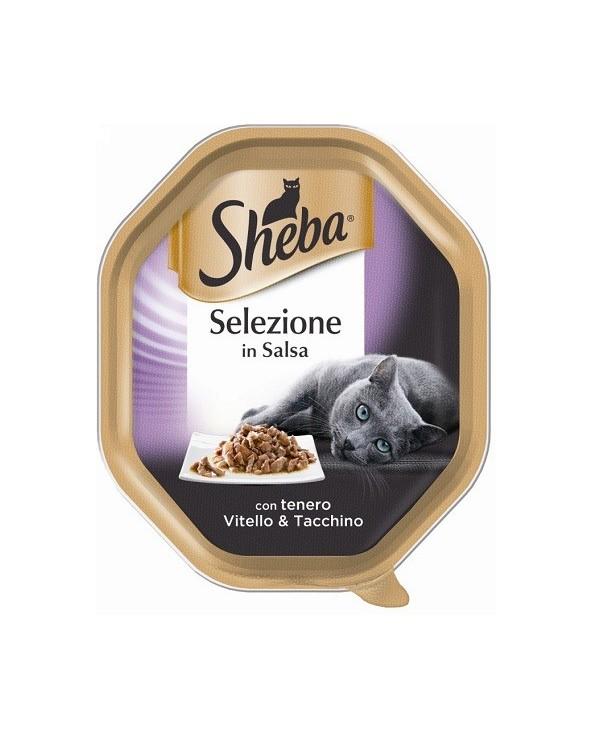 Sheba Selezione in Salsa con Tenero Vitello e Tacchino Vaschetta 85 g