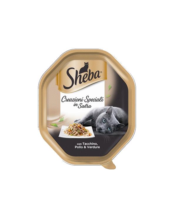 Sheba Creazioni Speciali in Salsa con Tacchino Pollo e Verdure Vaschetta 85g