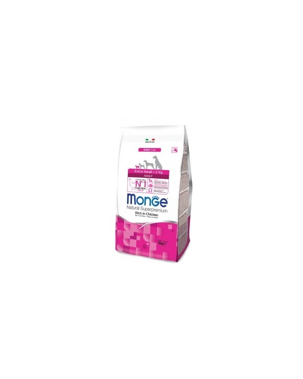 Monge Dog Natural Extra Small Adult Ricco di Pollo 3 kg