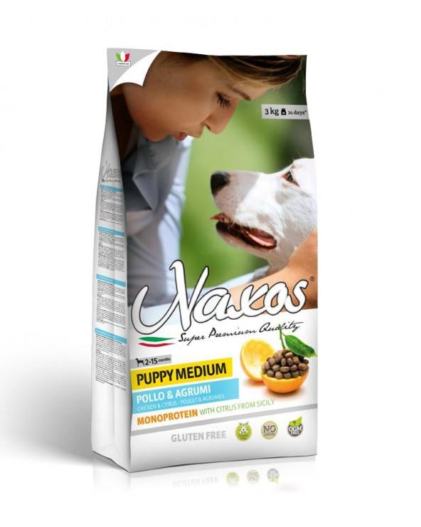 Naxos Dog NO GLUTEN Puppy Medium Monoproteico Pollo e Agrumi di Sicilia 12 kg