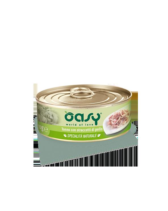 Oasy Cat Specialità Naturali Tonno con Straccetti di Pollo Lattina 150 g