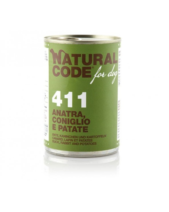 Natural Code Dog Patè 411 Anatra Coniglio e Patate 400 g