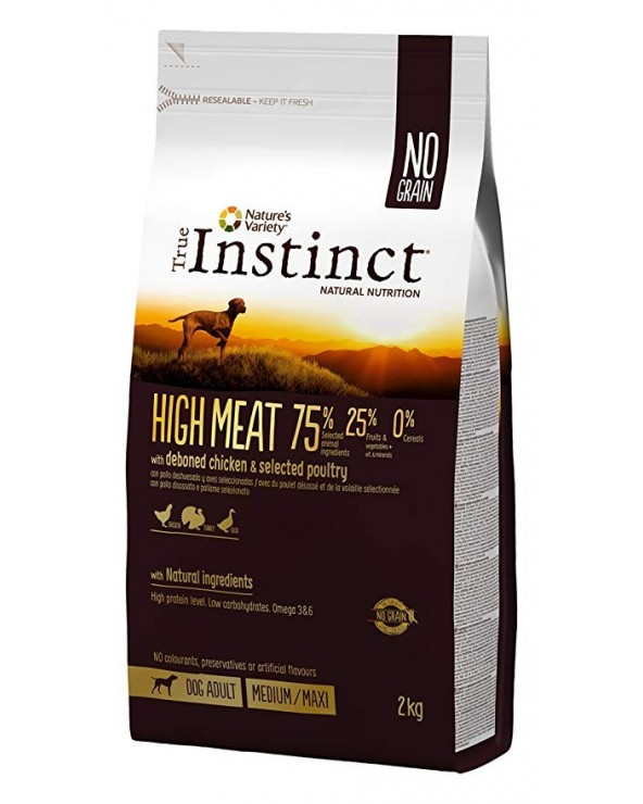 True Instinct Dog High Meat Adult Medium/Maxi con Pollo Allevato a Terra Disossato 2 kg