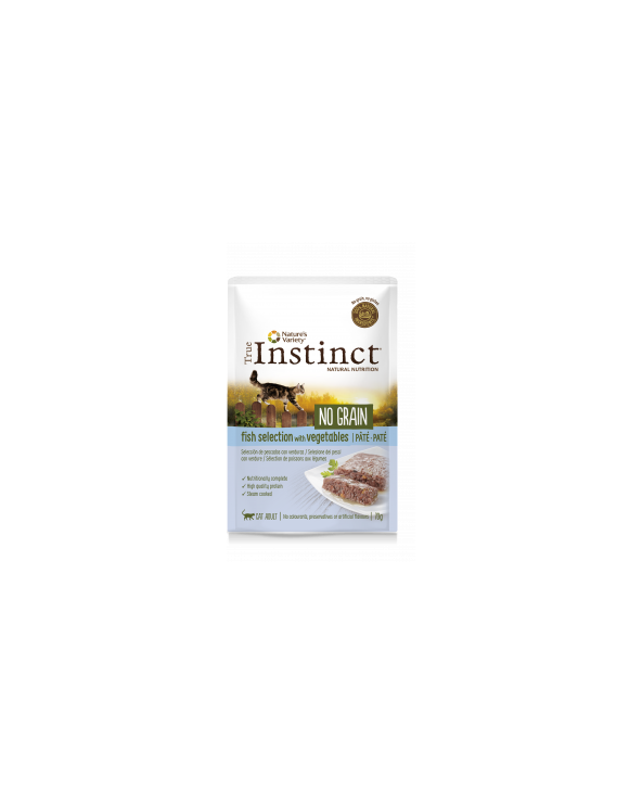 True Instinct Cat NO GRAIN Adult con Selezione di Pesce e Verdure Bustine in Patè 85 g