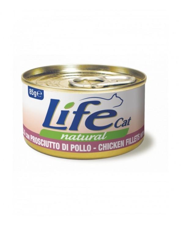 Life Cat Natural Filetti di Pollo con Prosciutto 85 g