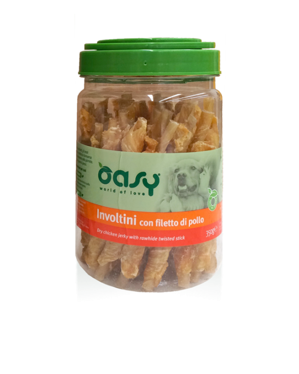 Oasy Dog Snack Involtini Di Filetto Di Pollo e Pelle Bovina Barattolo 350 g