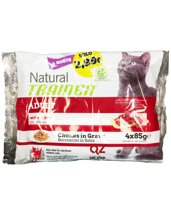 Natural Trainer Cat Umido Adult con Manzo Bocconcini in Salsa 4 x 85 g