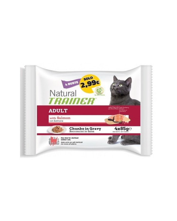 Natural Trainer Cat Umido Adult con Salmone Bocconcini in Salsa 4 x 85 g