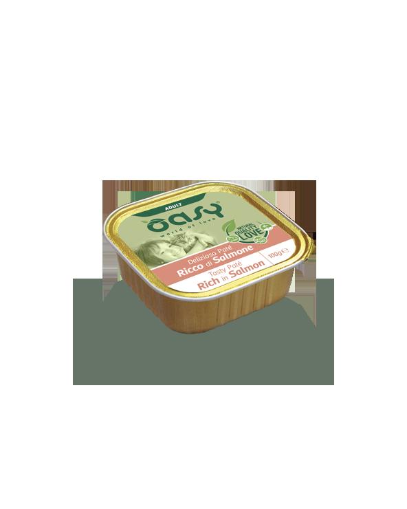 Oasy Cat Delizioso Patè Adult con Salmone Vaschetta 100 g