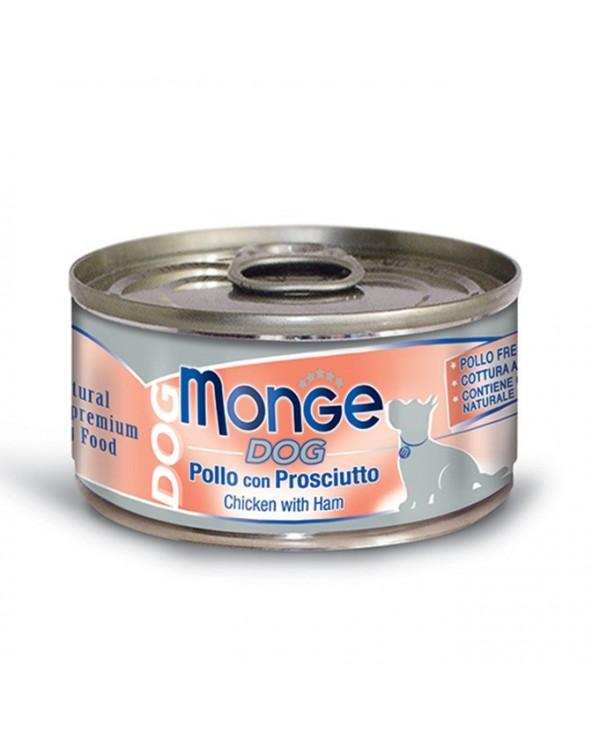 Monge Dog Sfilaccetti al Naturale Pollo con Prosciutto Lattina 95 g