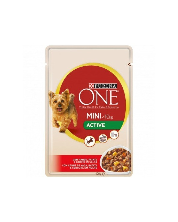 Purina ONE Dog Adult Mini Active con Manzo Patate e Carote Bocconcini in Salsa 100 g