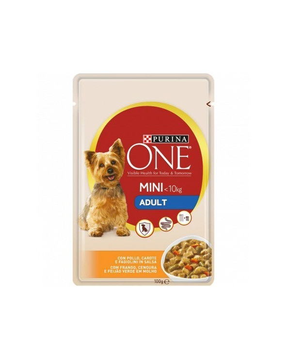 Purina ONE Dog Adult Mini Pollo Carote e Fagiolini Bocconcini in Salsa 100 g