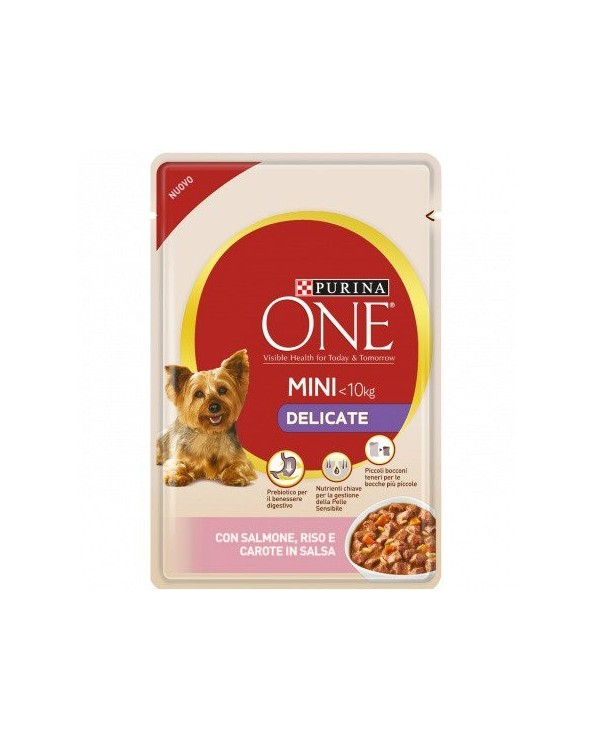 Purina ONE Dog Adult Mini Delicate con Salmone Riso e Carote Bocconcini in Salsa 100 g