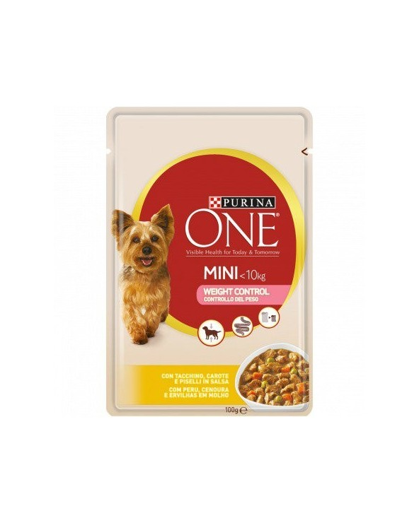 Purina ONE Dog Adult Mini Weight Control con Tacchino Carote e Piselli Bocconcini in Salsa 100 g