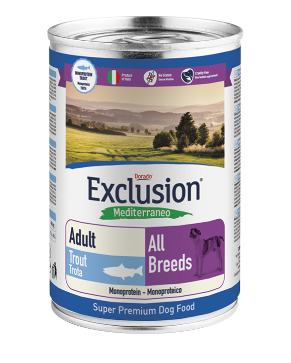 Exclusion Mediterraneo Dog Adult Trota All Breeds Patè 400g