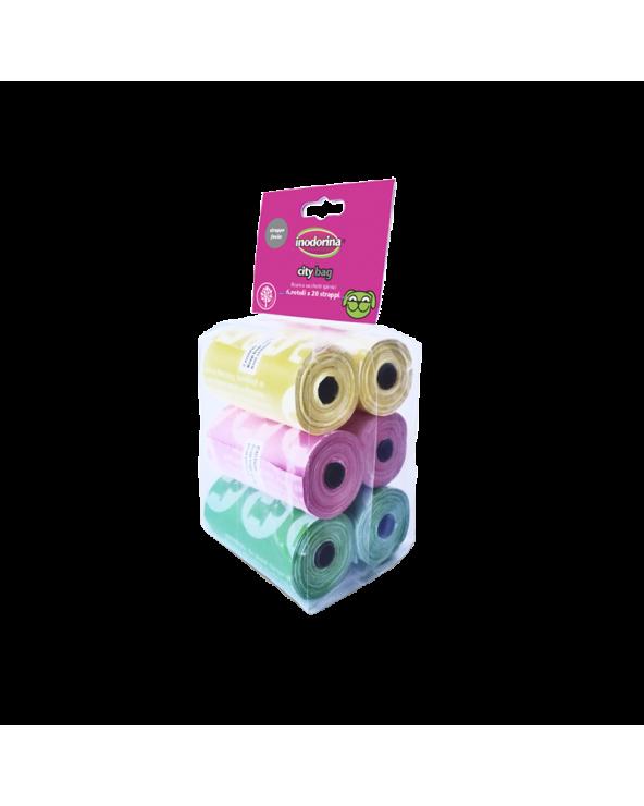 Inodorina City Bag Sacchetti Igienici Colorati 6 Rotoli 20 Strappi