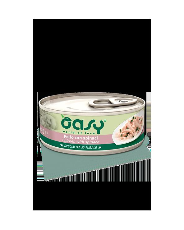 Oasy Cat Specialità Naturali Pollo con Spinaci Lattina 70 g