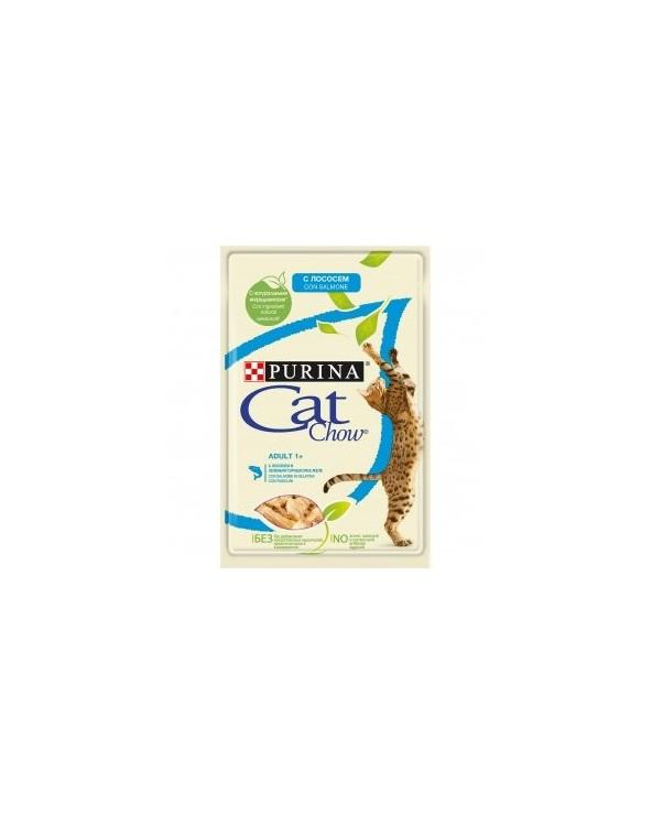 Cat Chow Umido Bocconcini in Gelatina Adult con Salmone e Fagiolini 85g
