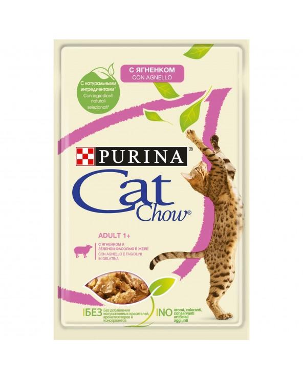 Cat Chow Umido Bocconcini in Gelatina Adult con Agnello e Fagiolini 85g