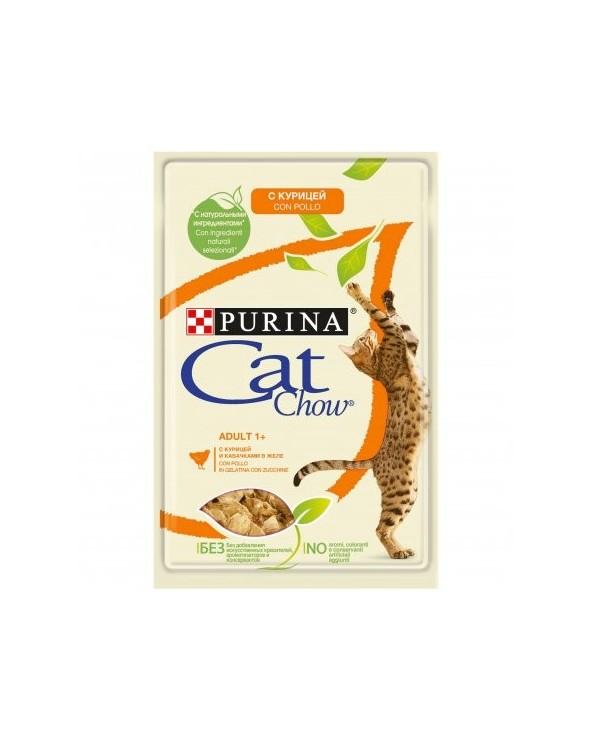 Cat Chow Umido Bocconcini in Gelatina Adult con Pollo e Zucchine 85g