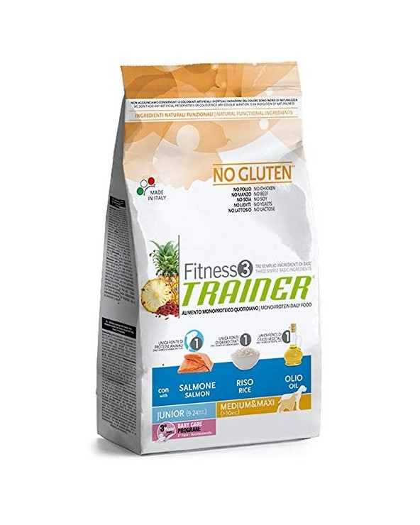Trainer Fitness 3 Junior Medium & Maxi con Salmone Riso e Olio 12.5 kg