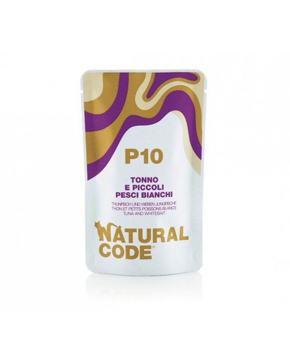 Natural Code Cat Pouches P10 Tonno e Piccoli Pesci Bianchi Bustina 70 g