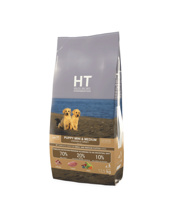 HT Healthy and Tasty Puppy & Junior Mini/Medium con Pollo e Tacchino 12,5 kg