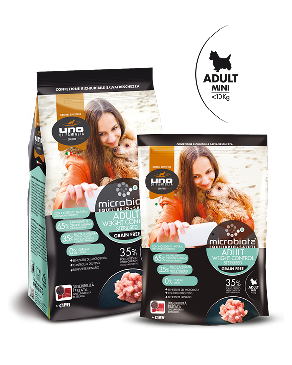UNO di Famiglia Microbiota Sterilised Weight Control Adult Mini con Pollo Fresco Grain Free 2 kg