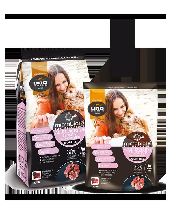 UNO di Famiglia Microbiota Sensitive Digestive Monoproteico Adult Mini con Maiale Fresco Grain Free 2 kg